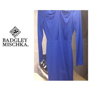 Badgley Mischka Blue Midi Dress Long Sleeve
